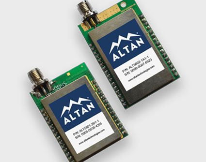 ALT5801 and ALT5802 wireless transceiver modules, 5.8 GHz, IEEE 802.15.4, small.