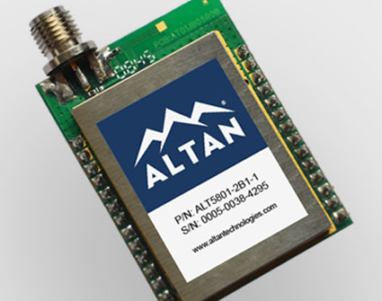 ALT5801 wireless transceiver module, 5.8 GHz, IEEE 802.15.4, small.
