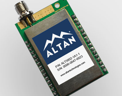 ALT5802 wireless transceiver module, 5.8 GHz, IEEE 802.15.4, small.