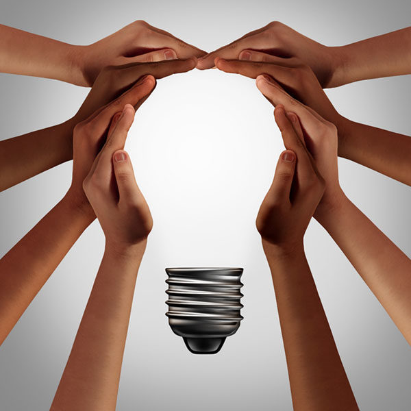 Team hands creating innovation.