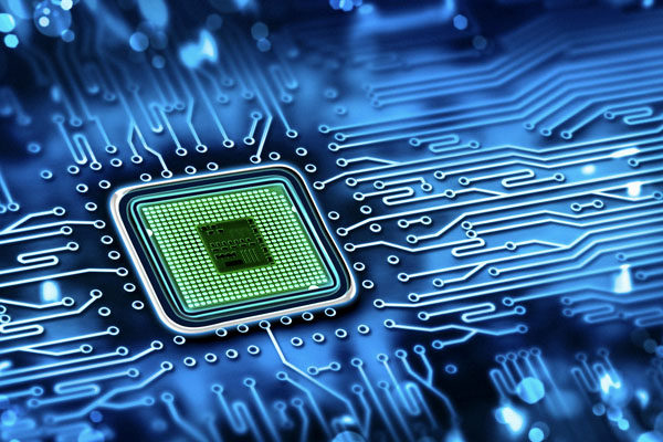 Embedded systems printed circuit board with microprocessor.