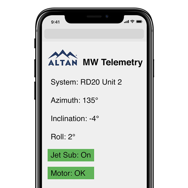 MW Telemetry monitoring display on smart phone.